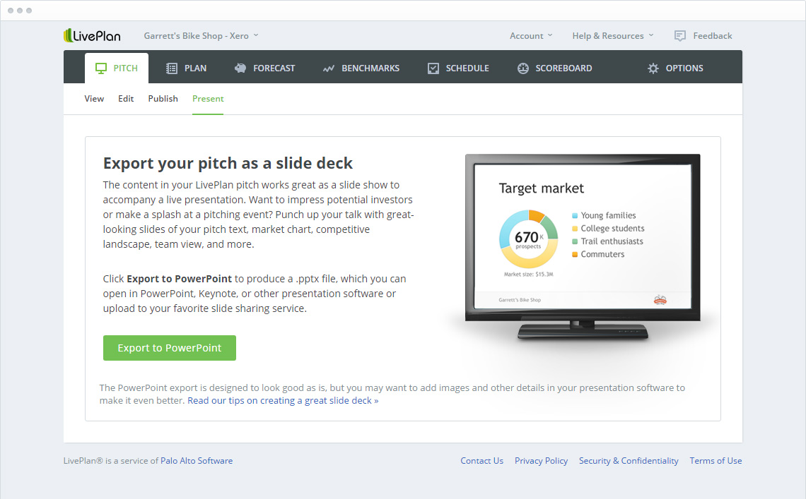 Export your pitch deck for custom presentations